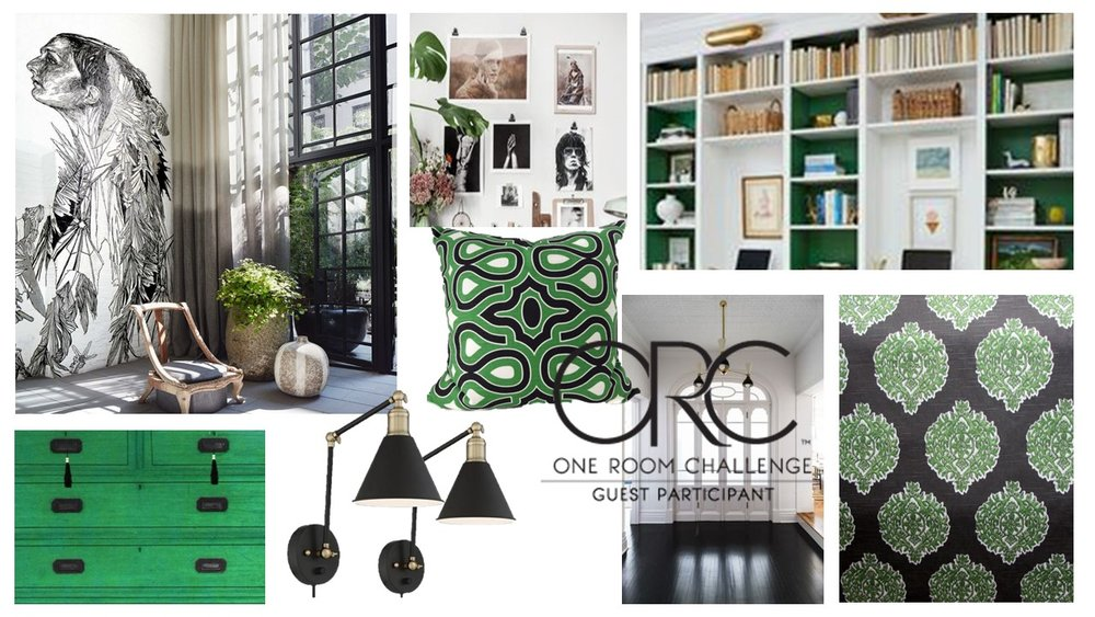 I'm completely struck by the idea of an invigorating office/work area.  So I've added emerald green to black and white and it suits me just fine.