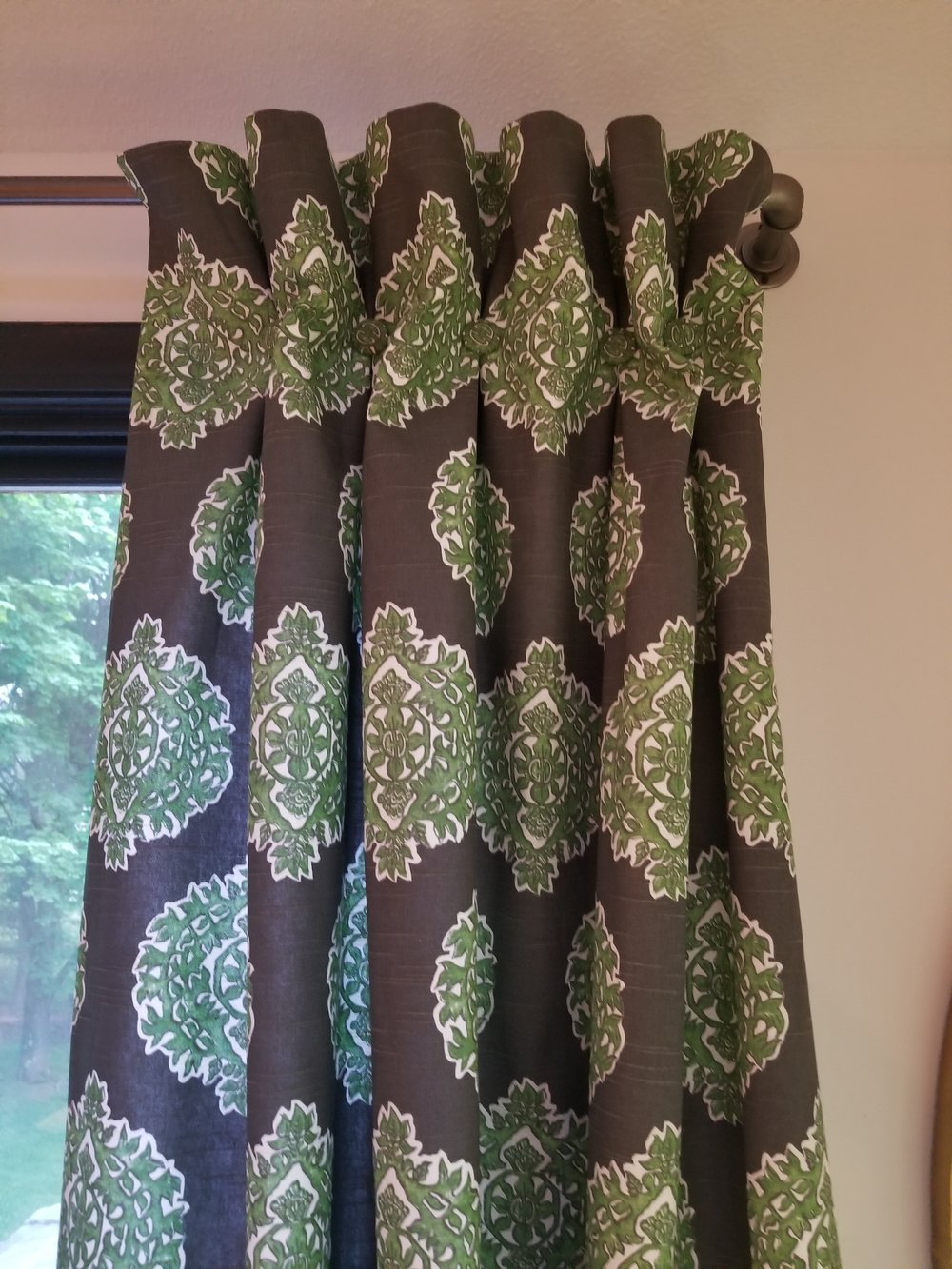 The curtain panels, turned out wonderfully with the help of my seamstress.