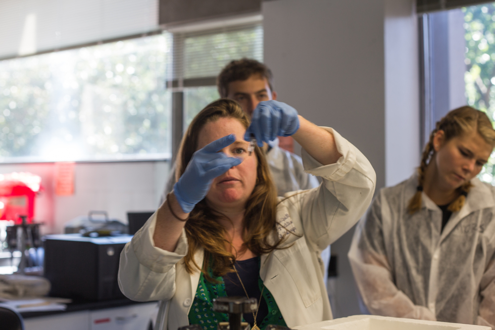 Professor Karen Hogan demonstrates how to gently flick at mini test tubes to ensure no droplets of liquid remain on the inner walls of the tube.