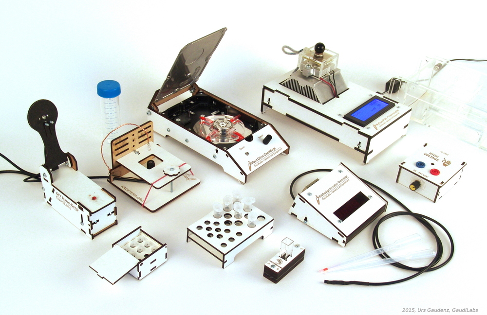 Lab tools developed by Gaudi Labs and hackteria.org are made from recycled parts.