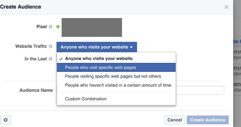 "Choose ""People who visit specific web pages."""