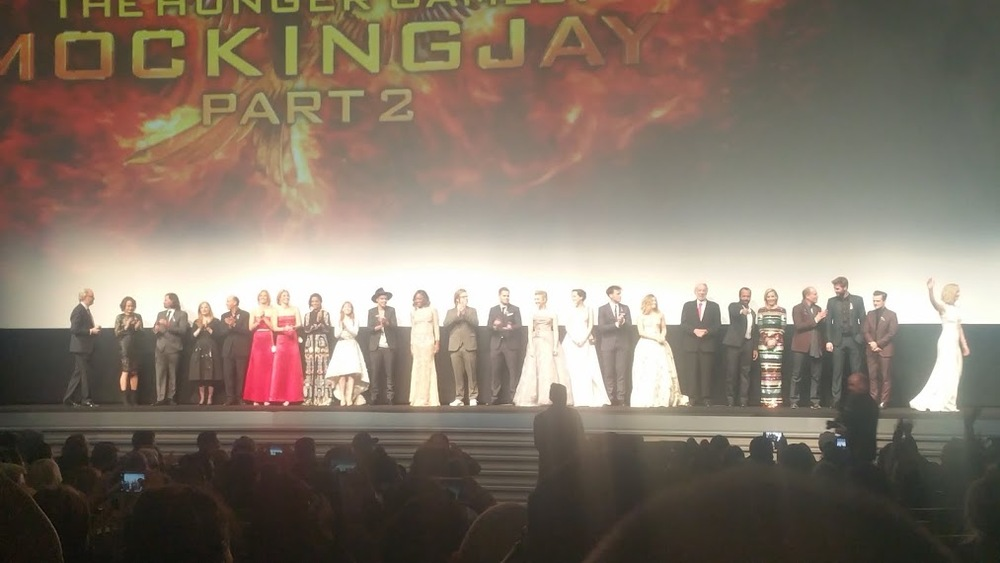 Everyone on stage, Jennifer Lawrence all the way to the right in such a pretty dress.