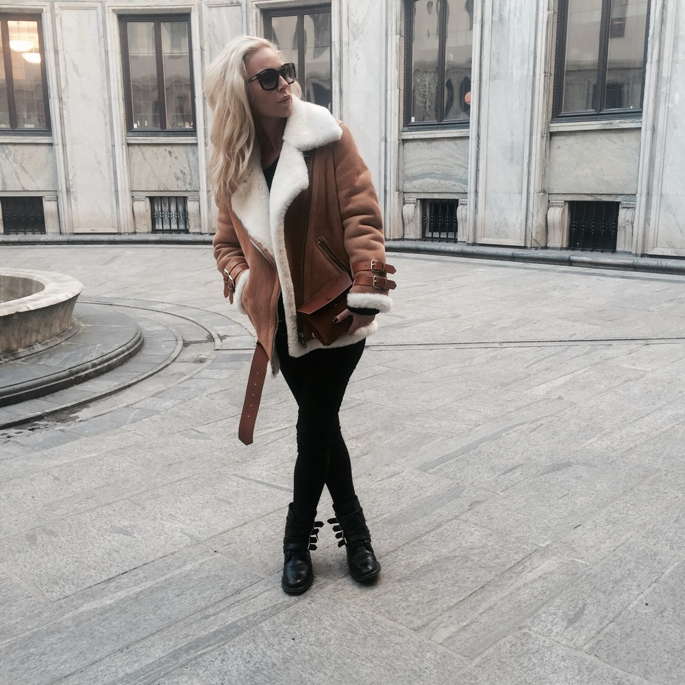jacket: acne  shirt: H&M  jeans: rag & bone  boots: saint laurent  sunglasses: tom ford purse: celine