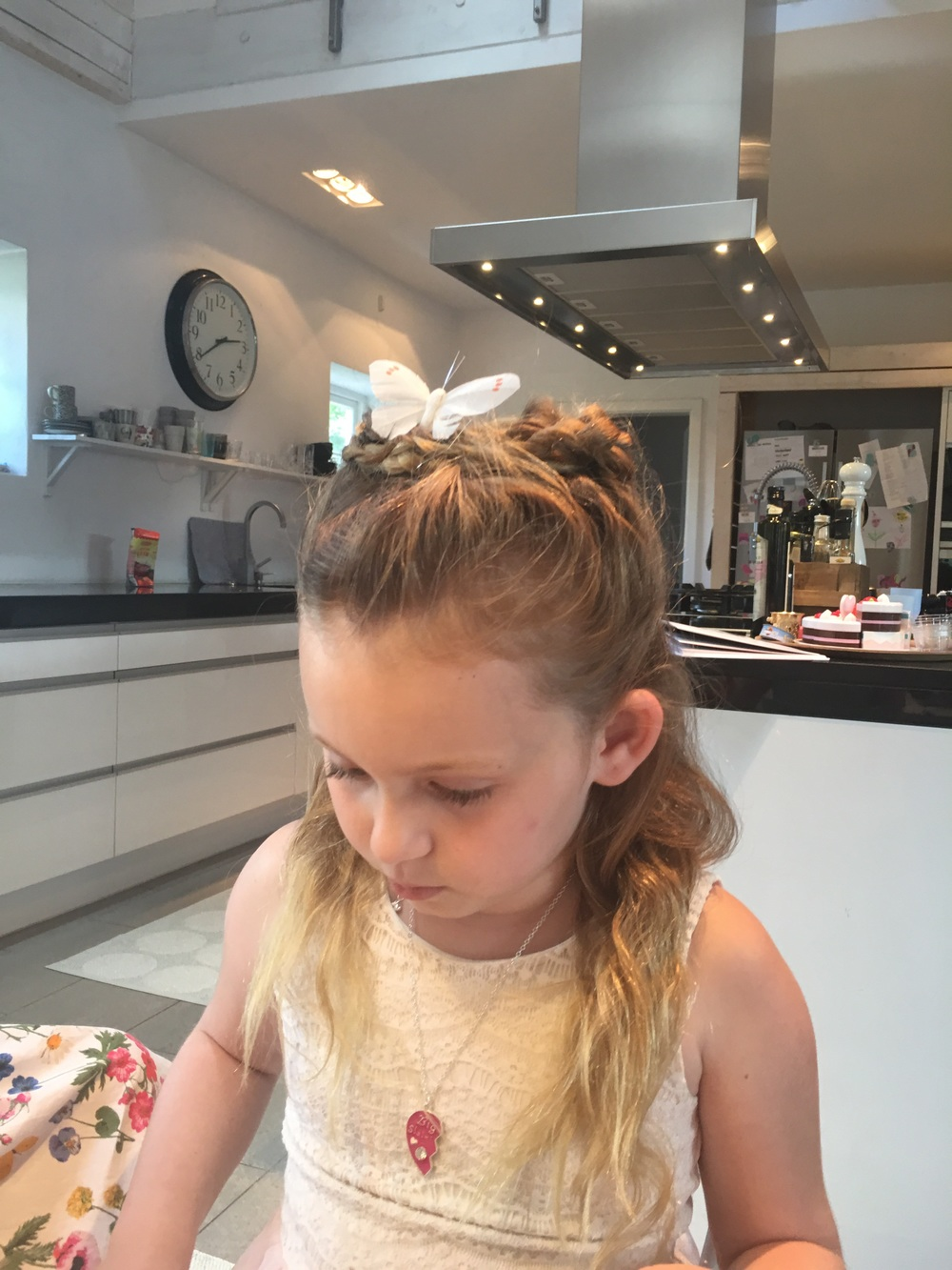 Monday Lily have here official butterfly in her hair for class.