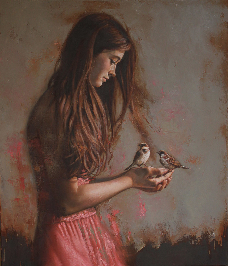 Girl with Birds - SOLD