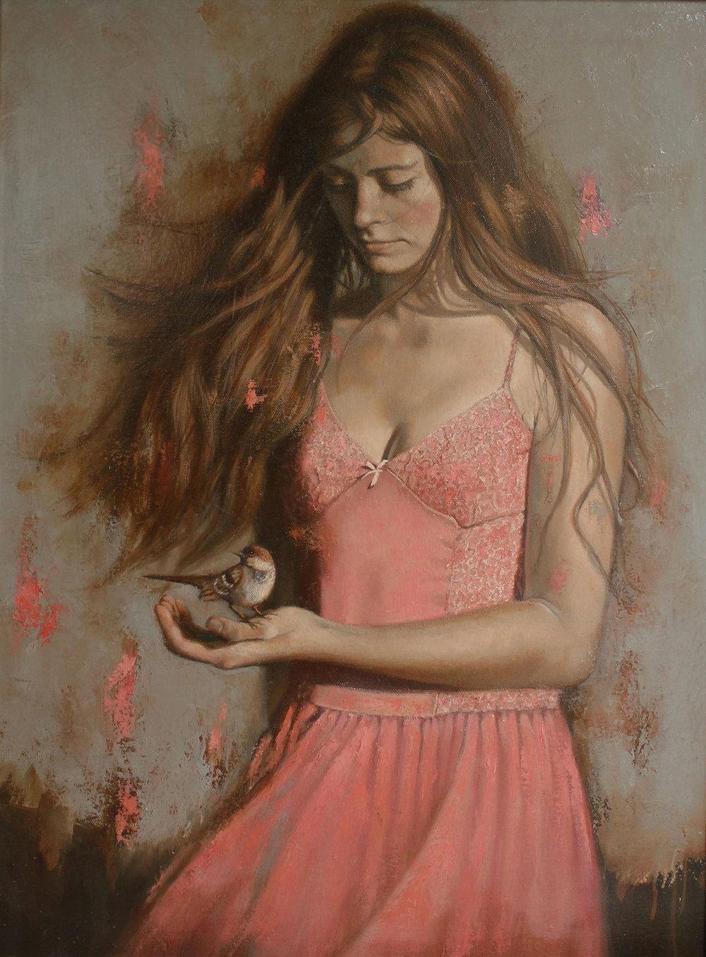 Girl with Bird 2 - 80x70cm