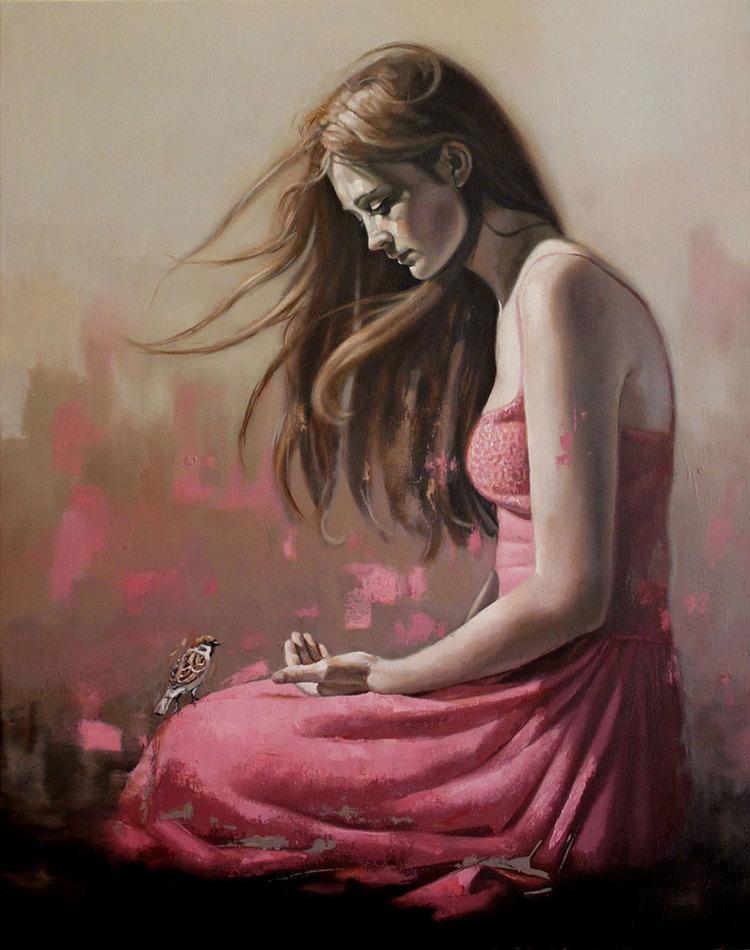 Girl with Bird 4 - 100x80cm