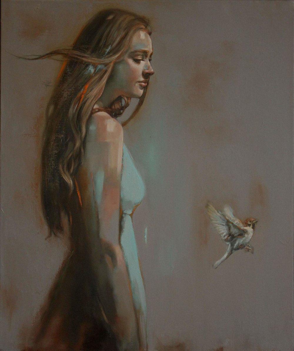 Girl with Bird 5 - 50x60cm