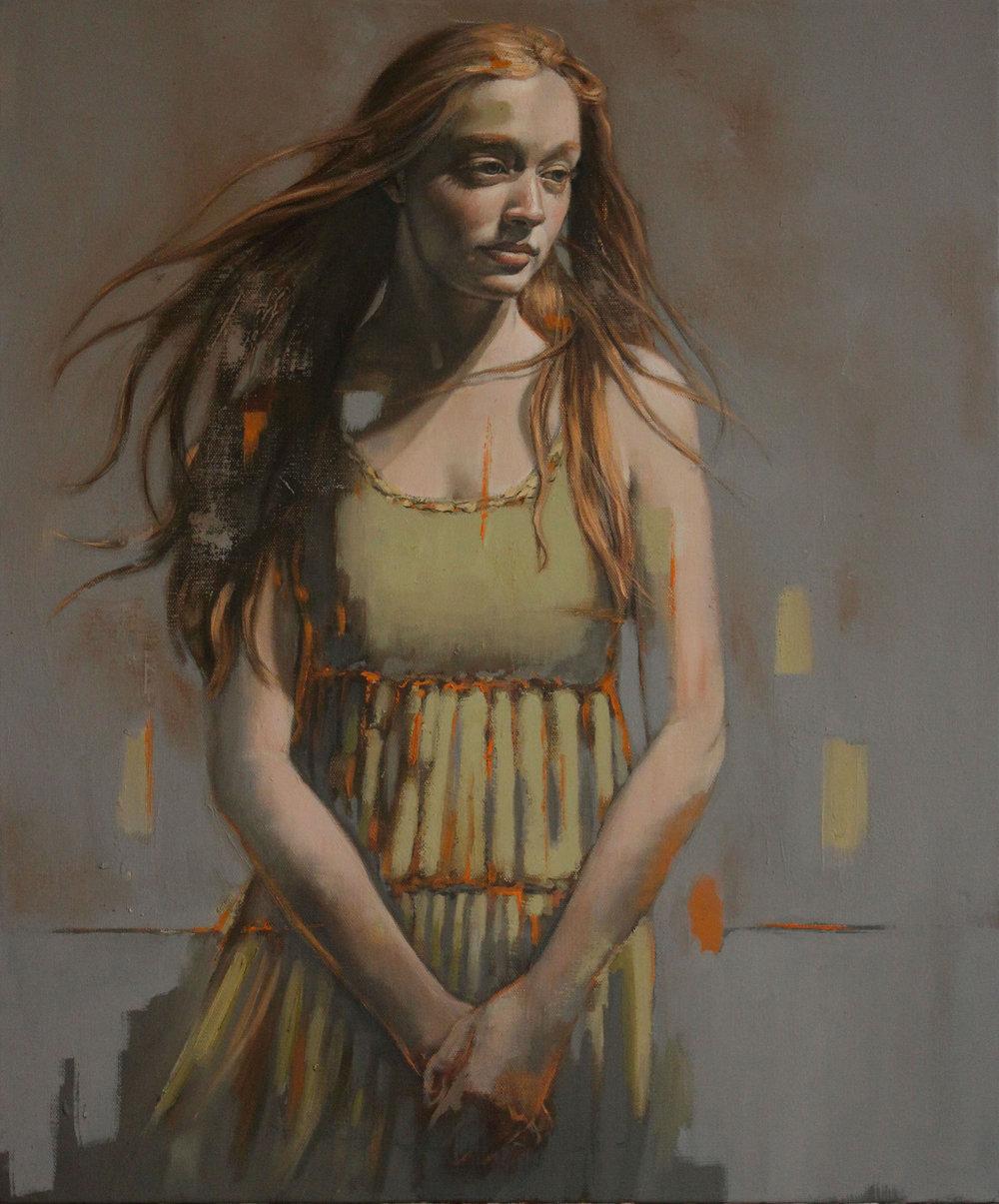 Girl in Green Dress - 50x60cm