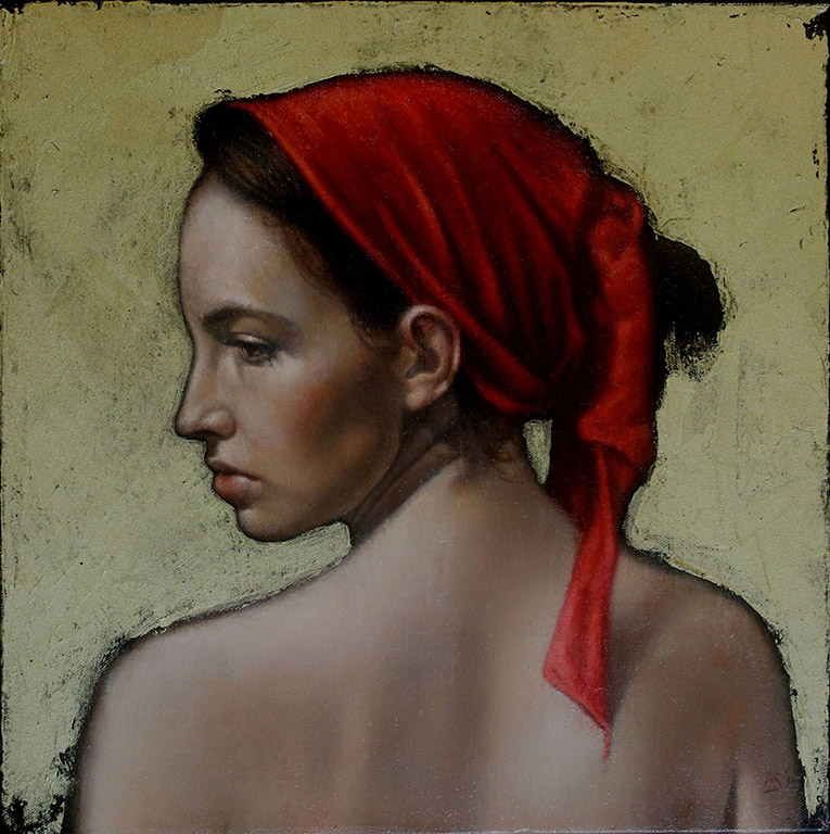 Red Scarf with Gold - SOLD