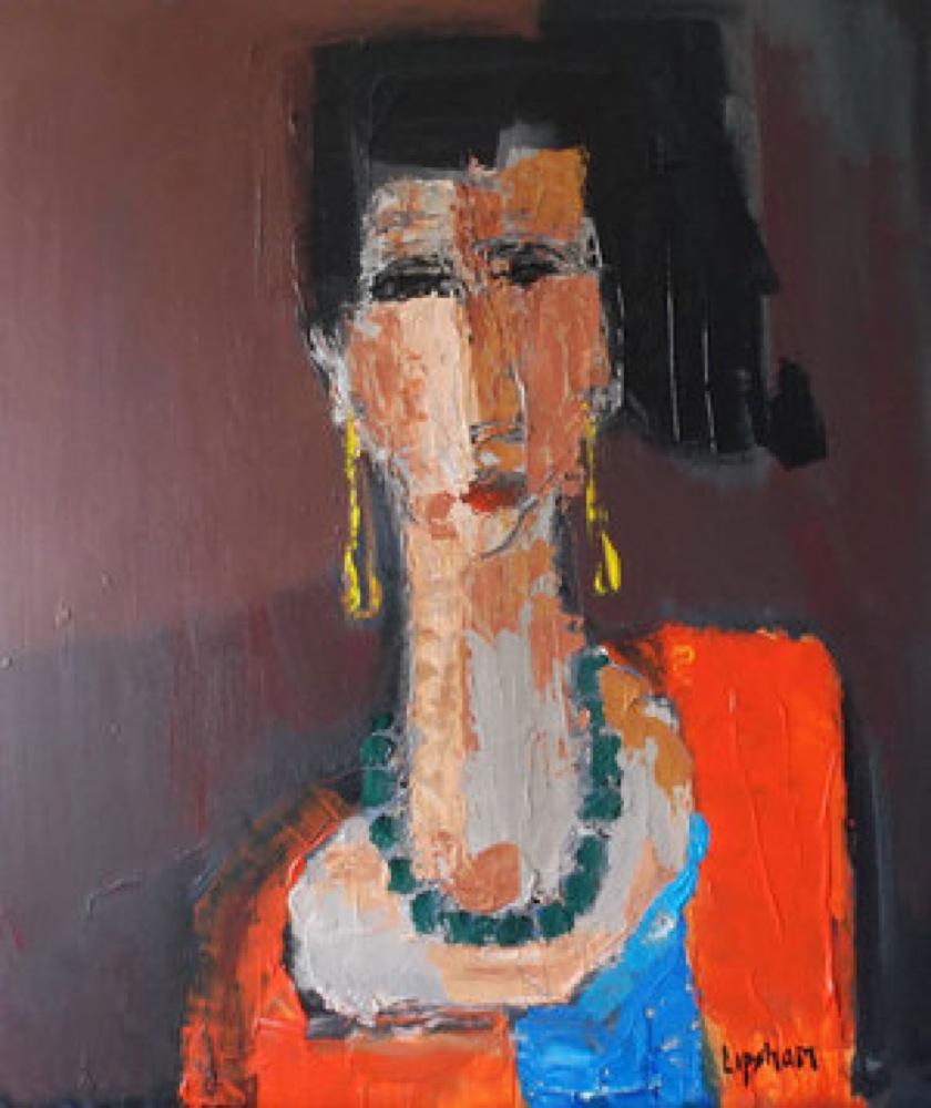 Woman in an Orange Cardigan - SOLD