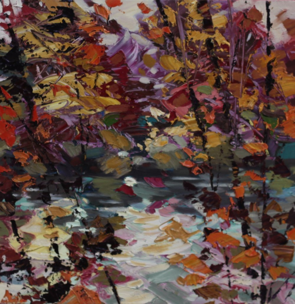 Burn Orange and Teal - 50 x 50cm