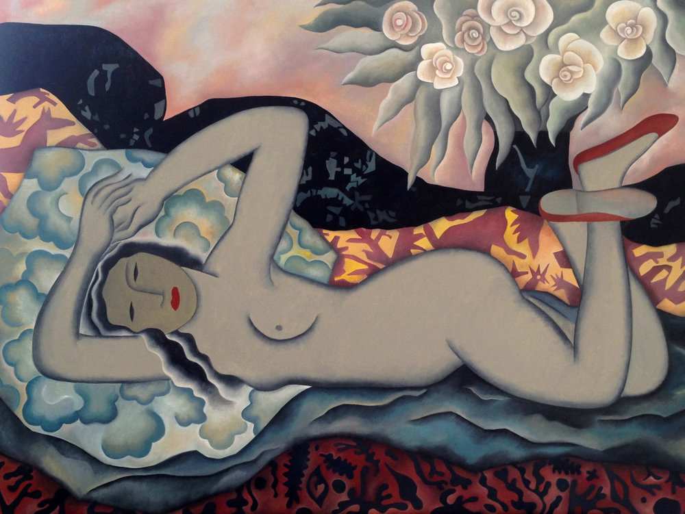 Nude With Camellias