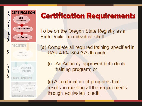 "* ""Equivalent credit"" means an individual has fulfilled the requirements by completing a relatively comparable course or combination of courses through birth doula certification organizations whose core curriculum meets state requirements."