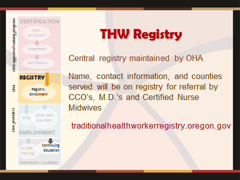Click here for the Traditional Healthcare Worker's Registry