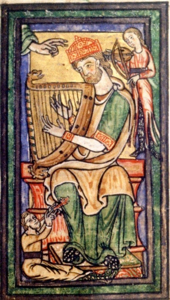 Depiction of David in the Siegburger Psalter, Vienna, ÖNB, Cod. lat. 1879, fol. 104v