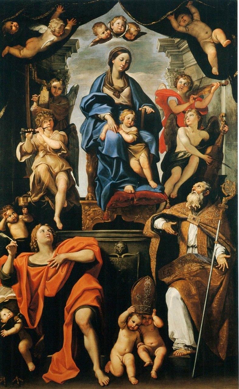 Domenico Zampieri detto il Domenichino (Bologna 1581 - Napoli 1641) Madonna con Bambino e i santi Petronio e Giovanni Evangelista.