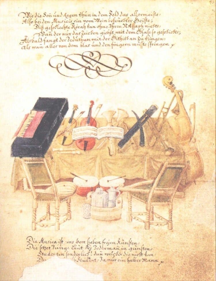 From Barockes Welttheater (1716-1727: 84): Musical Instruments, Daniel Pfisterer (1651-1728). Stuttgart: Württembergisches Landesmuseum, Inv. VK 1979/31.