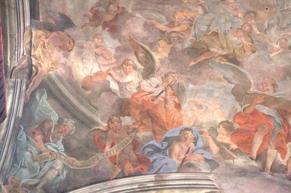 Grazzi chapel of the Santissima Annunziata in Florence. Fresco by Il Volterrano (also known as Baldassare Franceschini and Franceschini Baldassare detto Volterrano), ca. 1644.