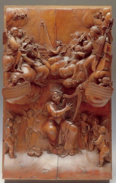 Wood panel ca. 1667, sold at Sotheby's in 1963, by Grinling Gibbons, a Dutch born artist with English parents.