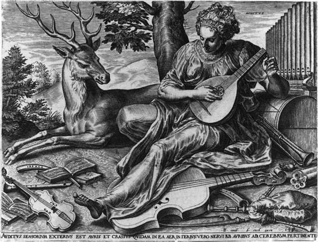 Cornelis Cort, (1533 – before 1578), after Frans Floris I (ca 1519-1570).  Auditus (Hearing) 1561