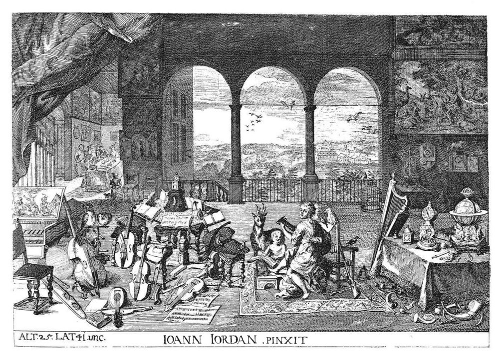 "Copperplate engraving from Joseph on Prenner's collection ""Theatrum artis pictoriae"", 1735, after Jan Brueghel the Elder, painting now in the Museo del Prado, Madrid."