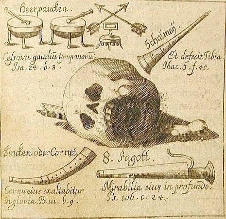 Abraham Megerle, From the Speculum Musico-Mortale, das ist musikalischer Totenspiegel, Salzburg, 1672.