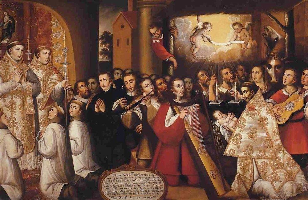 La Navidad en Greccio, 17th century Convento Franciscano de Santiago, Chile