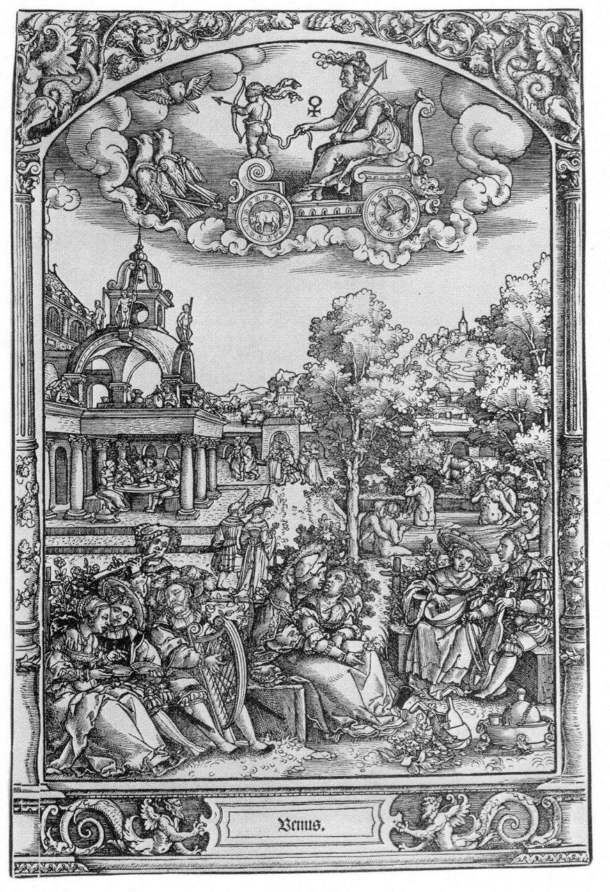The Children of Venus, engraving from The Seven Planets series, Barthel Beham (1502-1540) or his brother Hans Sebald Beham (1500-1550).