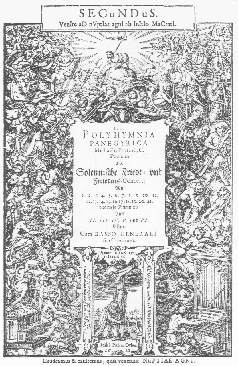 Michael Praetorius, title page Polyhumnia panegyrica… 1618