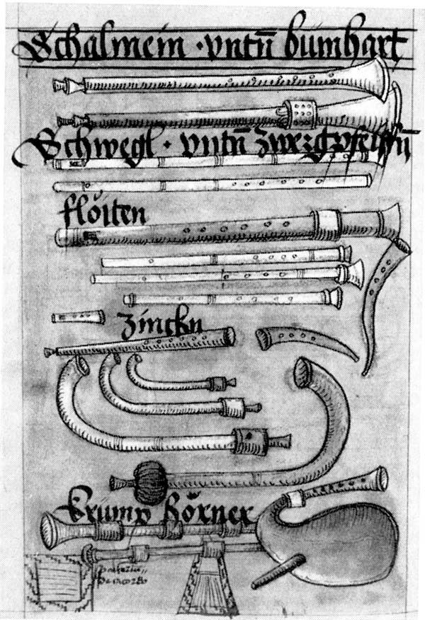 'Rughalm Codex' (Nuremberg, 1524): [Wind Instruments], colored ink drawing by Wolfgang Resch (?), after Virdung.