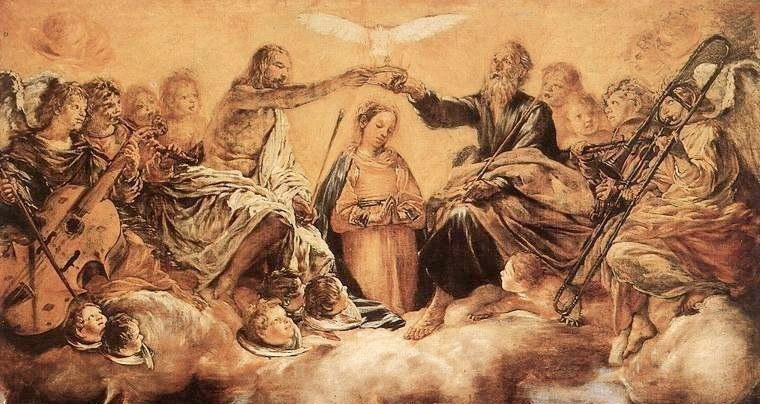 Ascona, Switzerland: Giovanni Serodine's Coronation of the Virgin with Saints in Ascona's parish church. Detail.