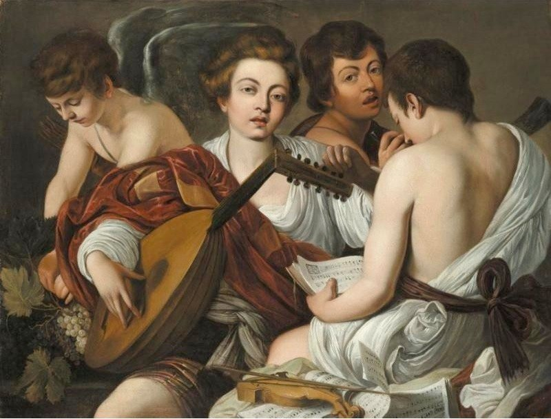 This copy of Caravaggio's Musicians was made by a follower. Note that the upper end of the cornetto is slightly more visible, even if no more informative.