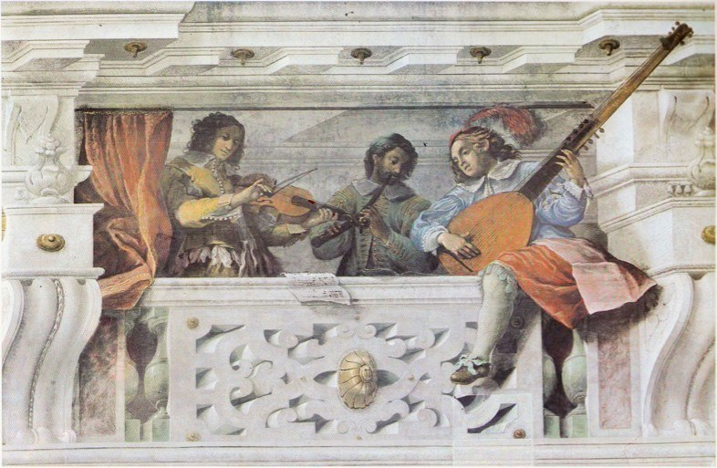 Three gallery musicians on a trompe l'oeil balconey by Colonna and Mitelli in the Palazzo Ducale of Sassuolo, Italy, dating from 1646-47.