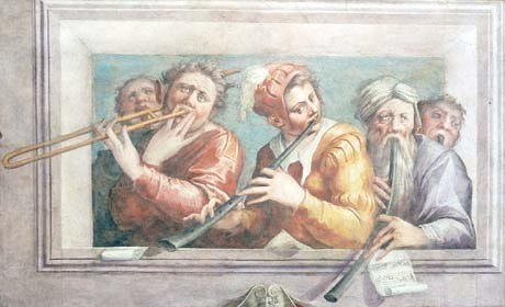 Giorgio Vasari, ca. 1545 Musicians, Fresco, Gardner Museum, Boston. Purchased 1897 from Vincenzo Barone. Naples. Submitted by Kiri Tollaksen