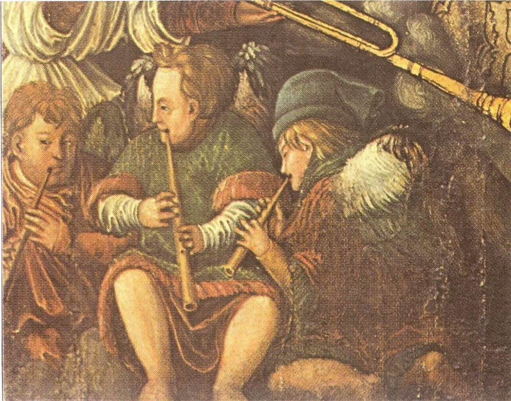 Unidentified painting of 3 cornettists.