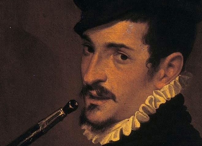 Detail of Passarotti, doppio ritratto con suonatore di cornetto.
