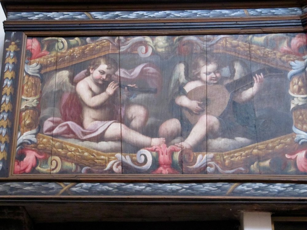 Romagnano Sesia, Chiesa della Madonna del Popolo, Painting on the cantoria of the organ by Tarquinio Grassi