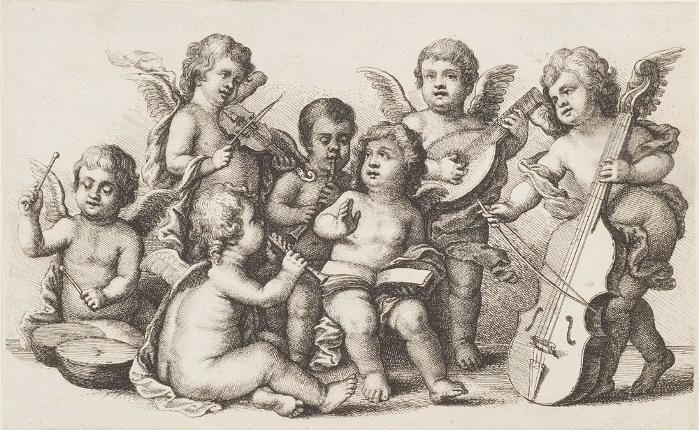 Wenzel Hollar (1627-1677) Engelkonzert auf der Erde. Braunschweig, Herzog Anton Ulrich-Museum.