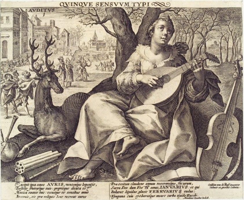Chrispyn de Passe (1576- 1625), Cologne. Auditus. Herzog August Bibliothek, Wolfenbüttel.