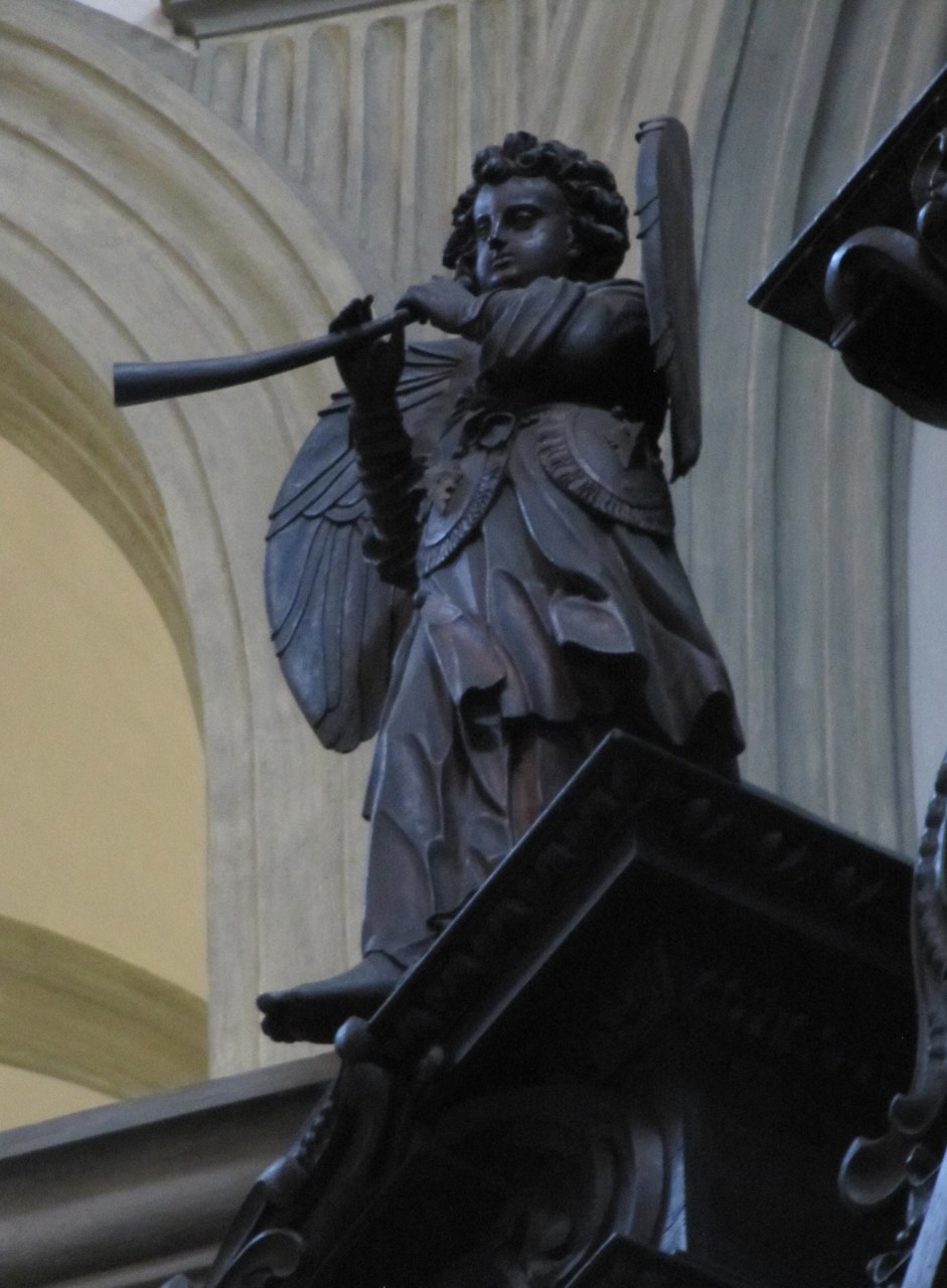 Cornetto-playing angel on the mid-17th century Wöckherl organ in the Franziskanerkirche in Vienna