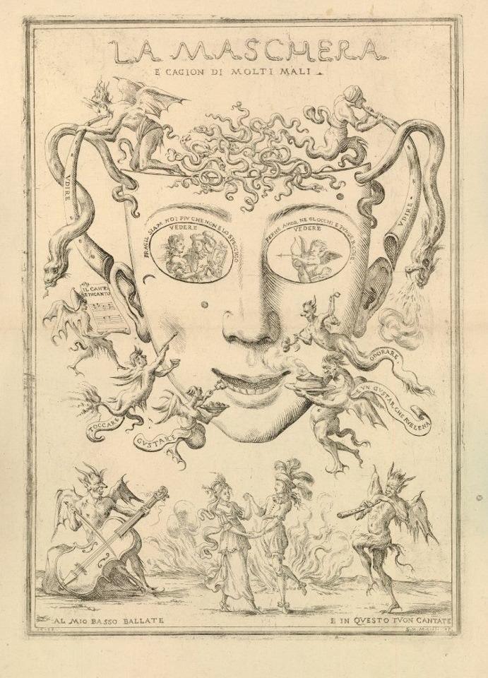 La maschera è cagion di molti mali, print by Giuseppe Maria Mitelli, 1688