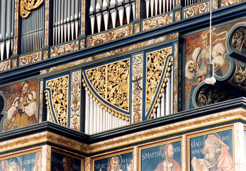 Organ decorations in the Georgskirche, Nördlingen, Bayern. this is a modern reconstruction of the 1610 organ which was destroyed by fire in 1974.