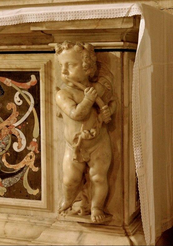 Marble cherub by Michele Fabris, 1681, in the Basilica di Santa Giustina, Padova