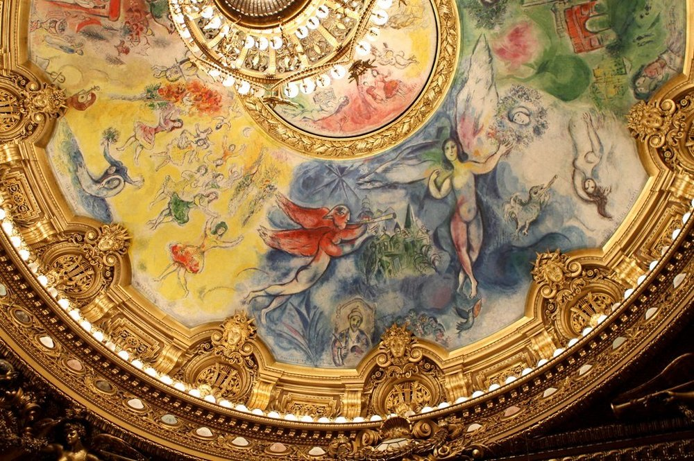Painted ceiling by Marc Chagall in the Opéra Garnier, Paris, 1964.
