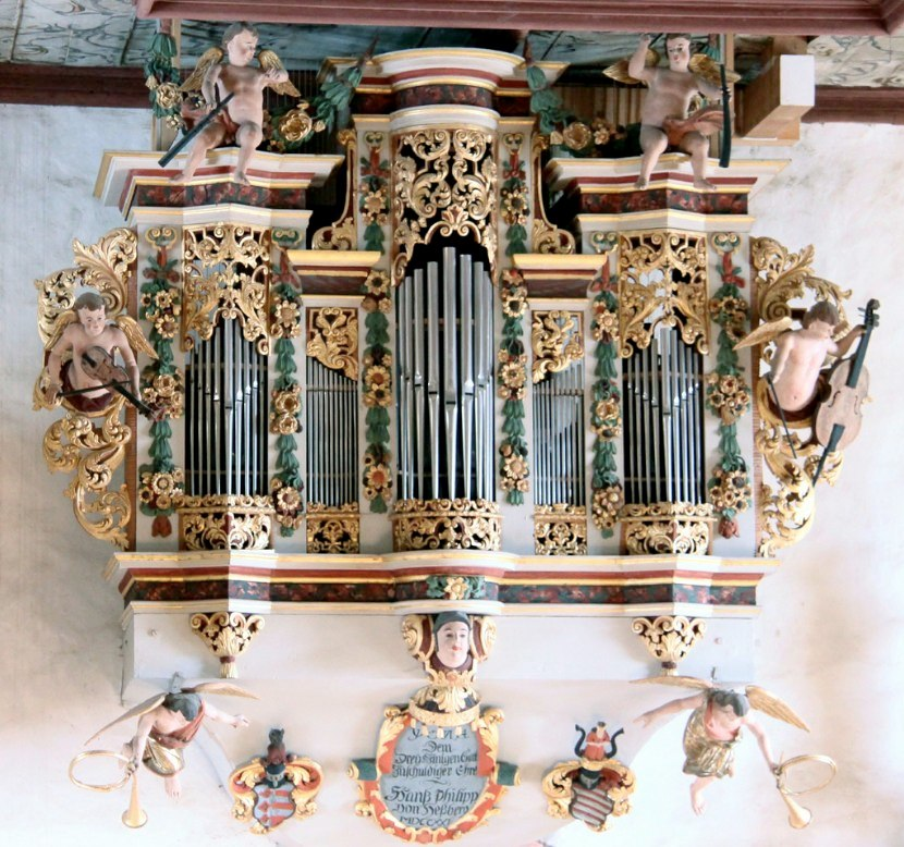 Cherub musicians on the organ case in Bedheim, Südthüringen. The organ, called the Schwalbennestorgel was built by Johann Philipp von Hessberg in 1721.