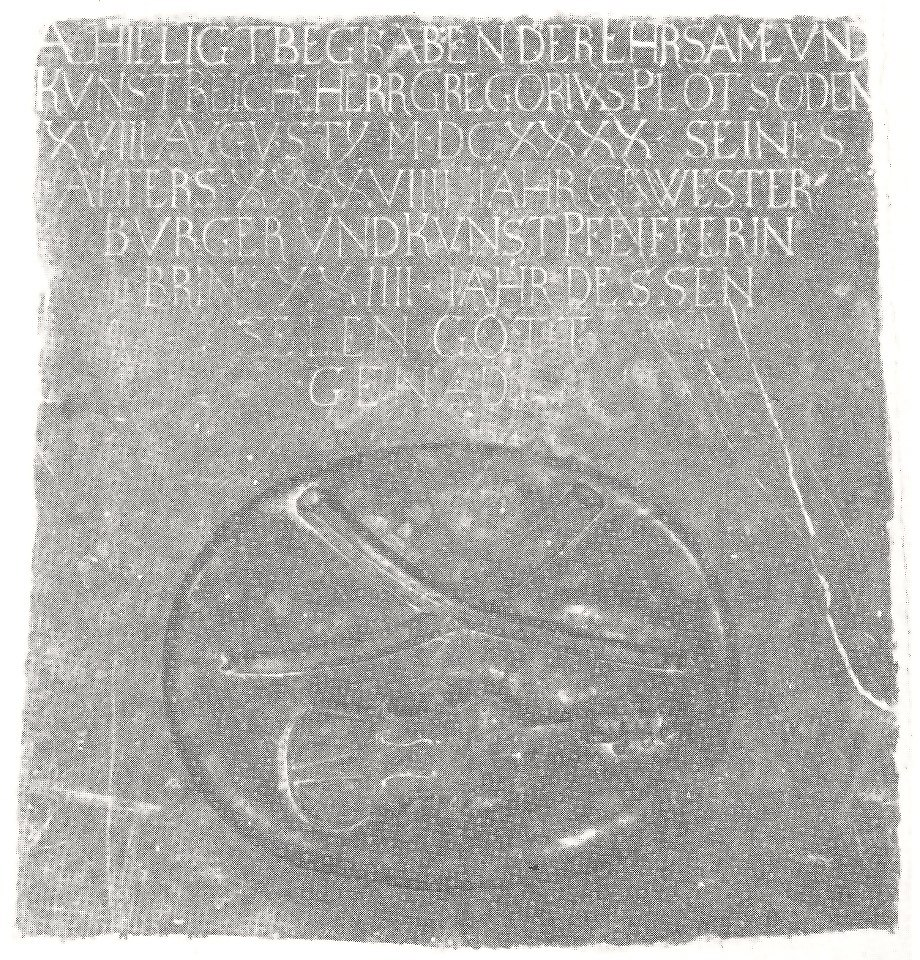 Gravestone of the tower musician G. Plot from 1690 in the church St.Wenceslais in Mikulov