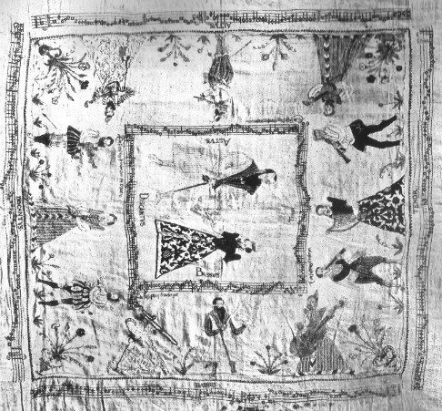 Detail of embroidered tablecloth, 1562-68, depicting Count Poppo of Henneberg and his wife Sophia of Brunswick. Photograph of original, now lost.
