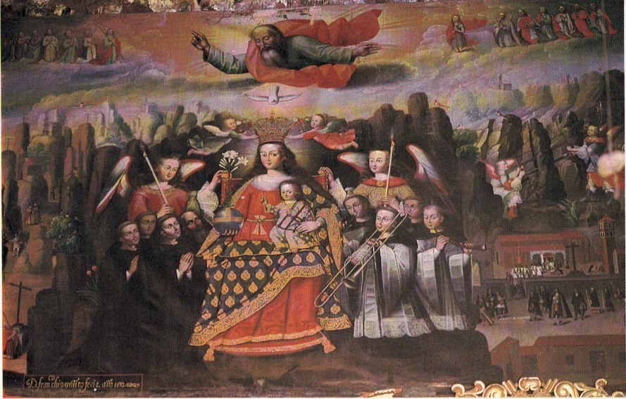 Cusco, Peru: Francisco Chihuantito's painting, The Virgin of Monserrat, located in the parochial church of Chichero, Cusco