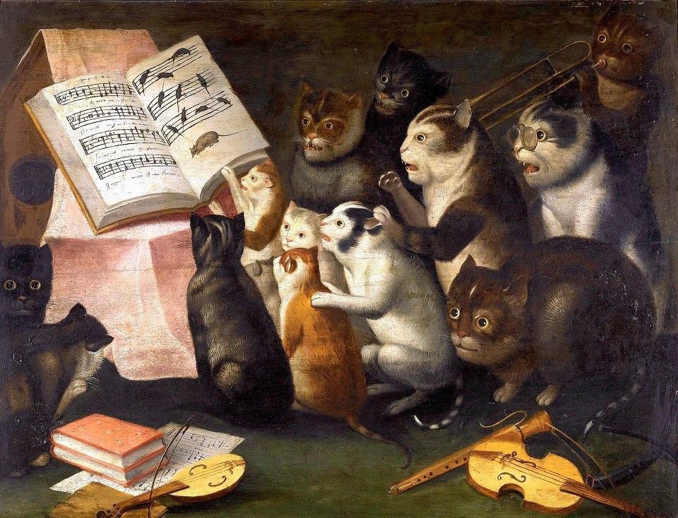 Ferdinand Van Kessel (1648- 1696). A concert of cats. Contributed by Gustavo Gargiulo.